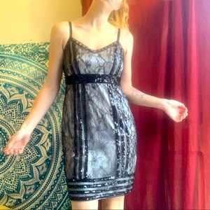 Zara black sequin lace dress, satin cream lining